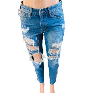 FASHION NOVA | SZ M  DISTRESSED BOYFRIEND JEANS